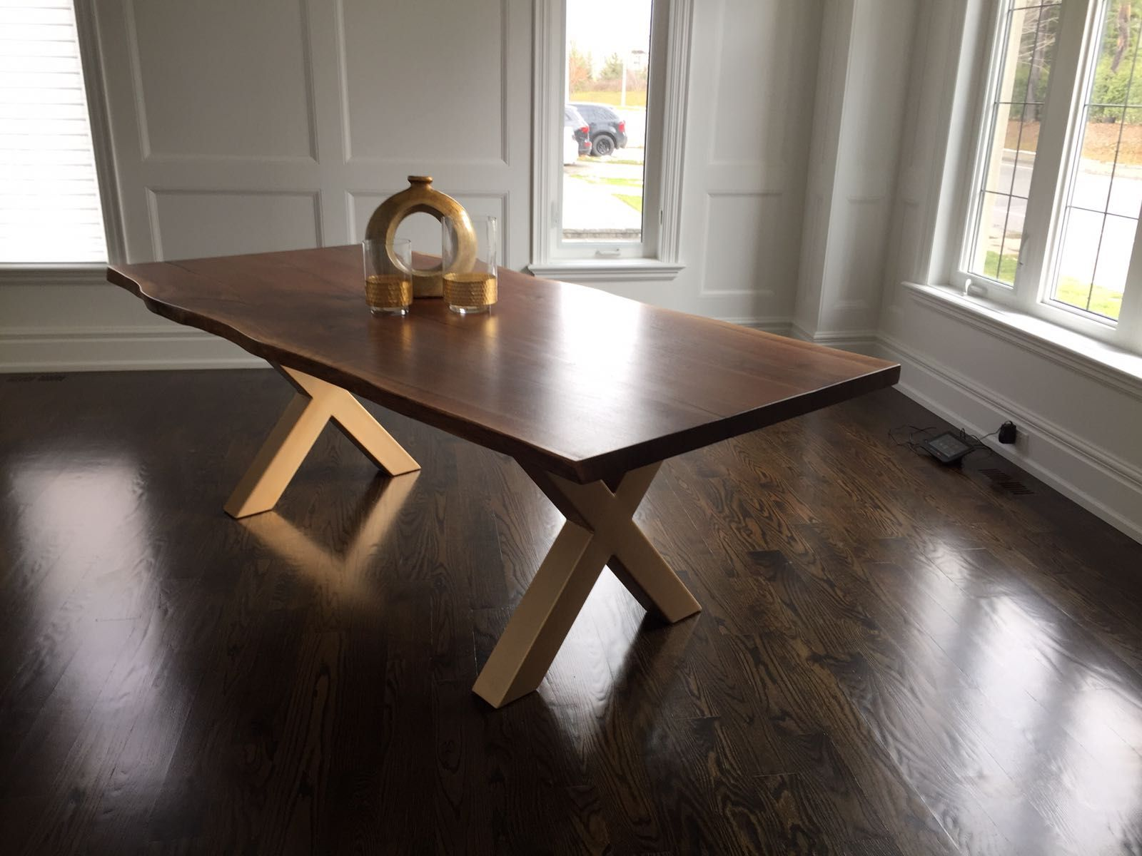 Live Edge Black Walnut Dining Table With Gold Legs Live Edge Dining Room Live Edge Dining Table Dining Table With Bench