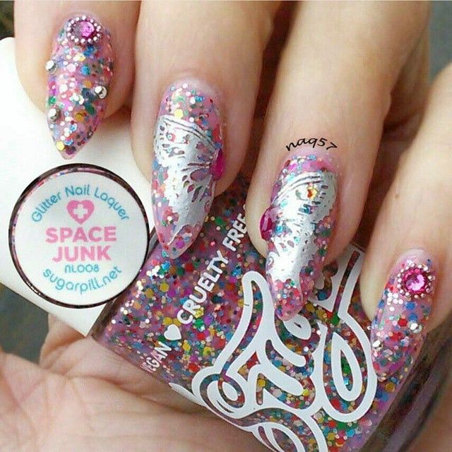 Nail art using sugarpill Space Junk nail lacquer with some cute ...