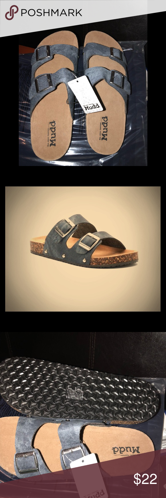 0ca9248741e4 Mudd® Women s Denim Double Buckle Sandals SHOE DETAILS Open toe Slip on  Adjustable buckles 1-in. heel Molded footbed Wipe clean Imported Mudd Shoes  Slippers
