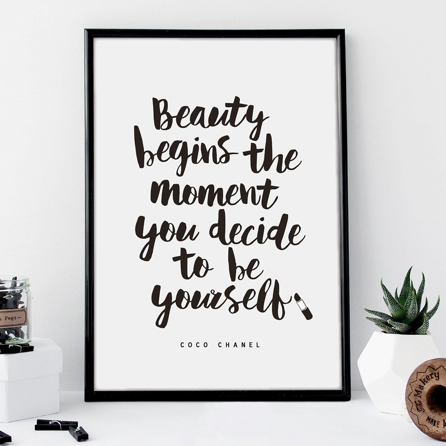 Beauty Begins the Moment You Decide to Be Yourself http://www.amazon.com/dp/B01ACAGBT6 motivationmonday print inspirational black white poster motivational quote inspiring gratitude word art bedroom beauty happiness success motivate inspire
