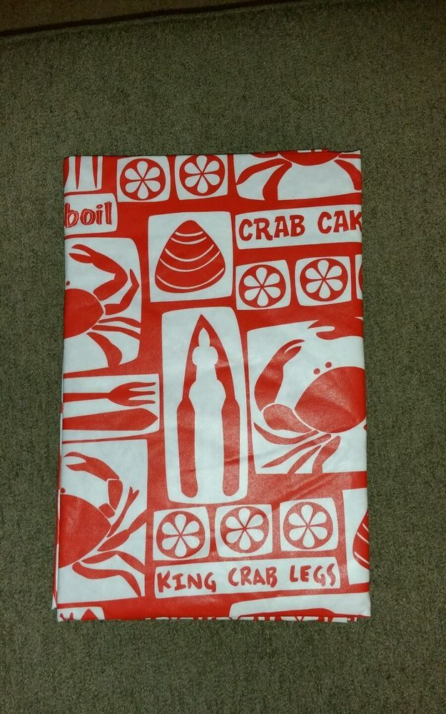 Crab Coastal Vinyl Tablecloths NIP Red n White 3 sizes #ElreneHome