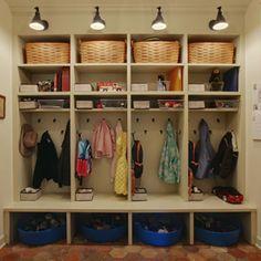 mudroom like these lockers because they have logical storage cubbies top for baskets shoe cubbies tubs beneath need some doors though to hide it