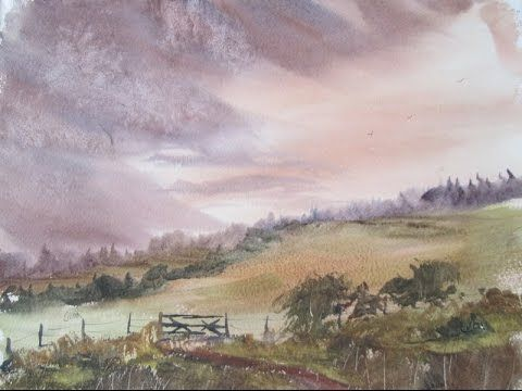 Loose Watercolour Landscape Painting Demonstration Youtube
