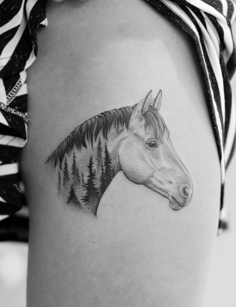Chinese Zodiac Horse Tattoos Horse Tattoo Small Horse Tattoo Cowgirl Tattoos