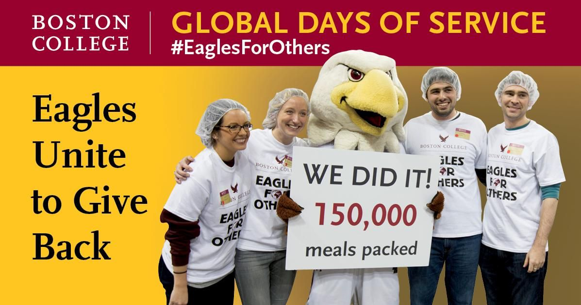 """Boston College Eagles are """"men and women for others."""" Take part in Global Days of Service worldwide to unite the BC community and increase the impact we can make together. #EaglesForOthers #WeAreBC #BCPromo"""