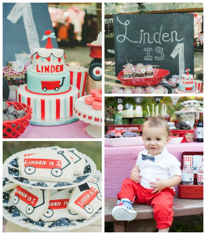 Little Red Wagon First Birthday Party Holiday