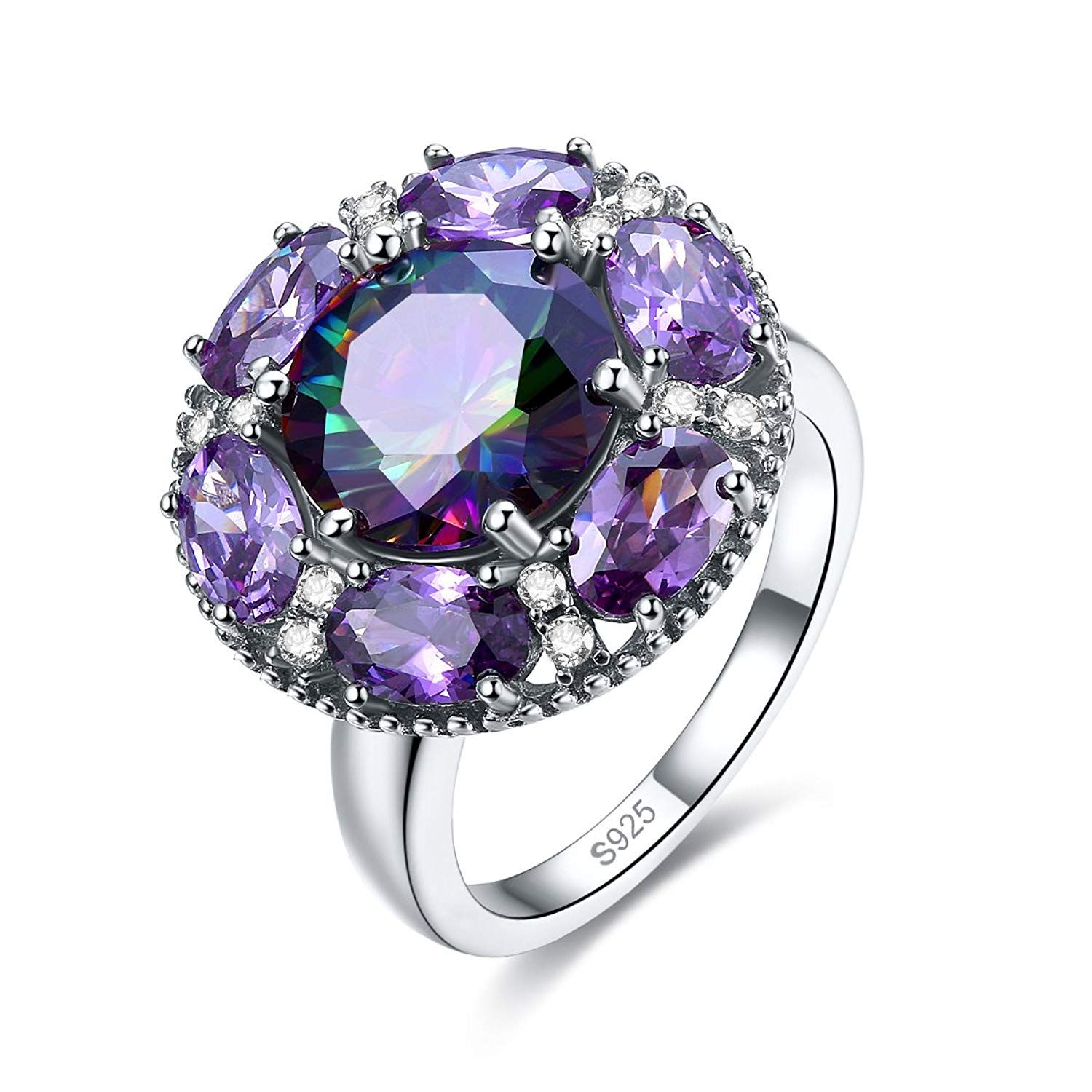 Merthus 925 Sterling Silver Created Pink Topaz 3 Stone Engagement Ring for Women