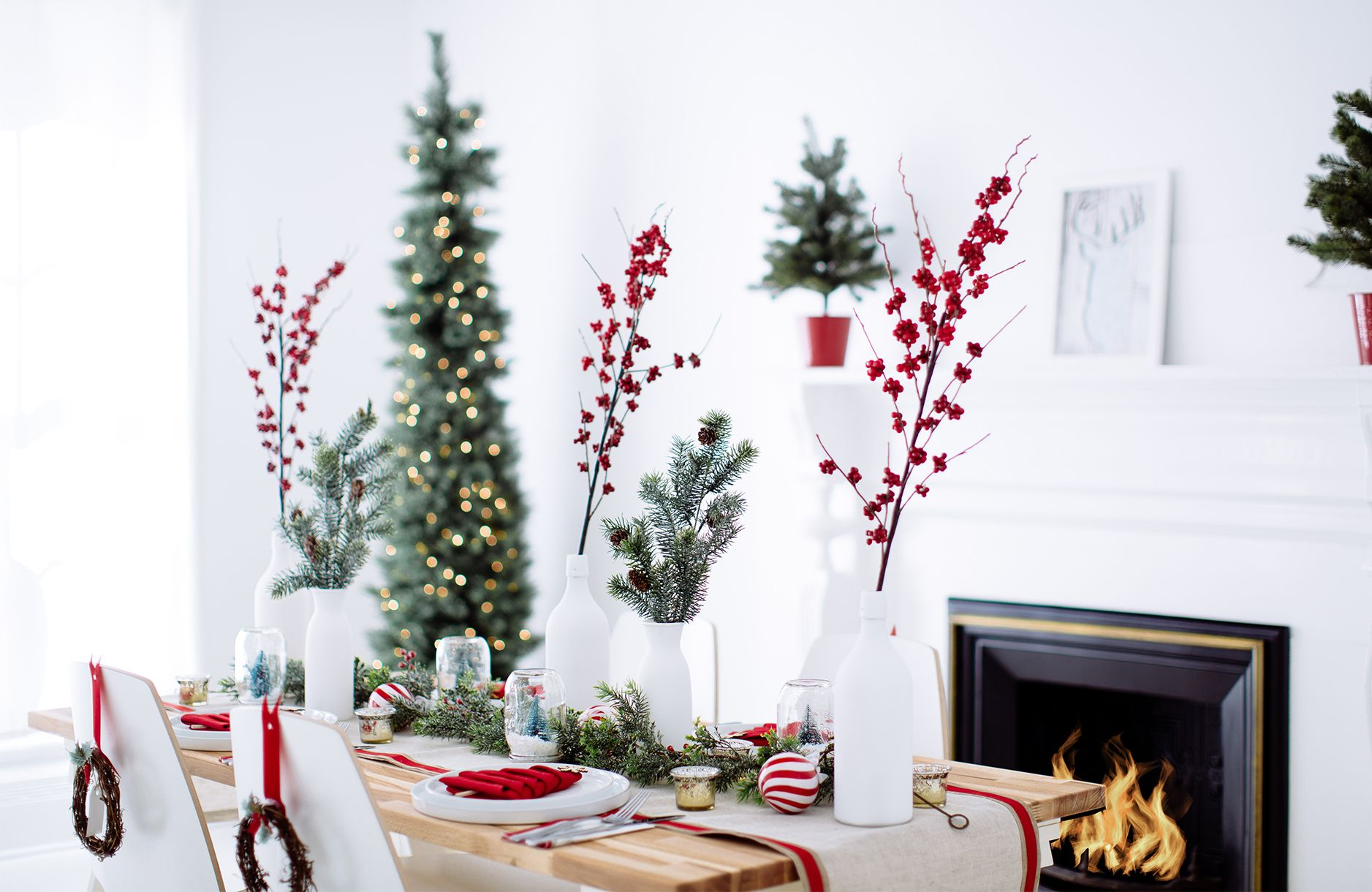 Holiday party decor: red, white & wreaths   Budgeting, White wreath ...