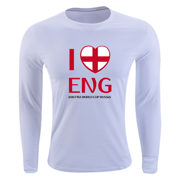 56220550a18 England 2018 FIFA World Cup Russia™ I Heart England Long Sleeve Supersoft T- Shirt (White)