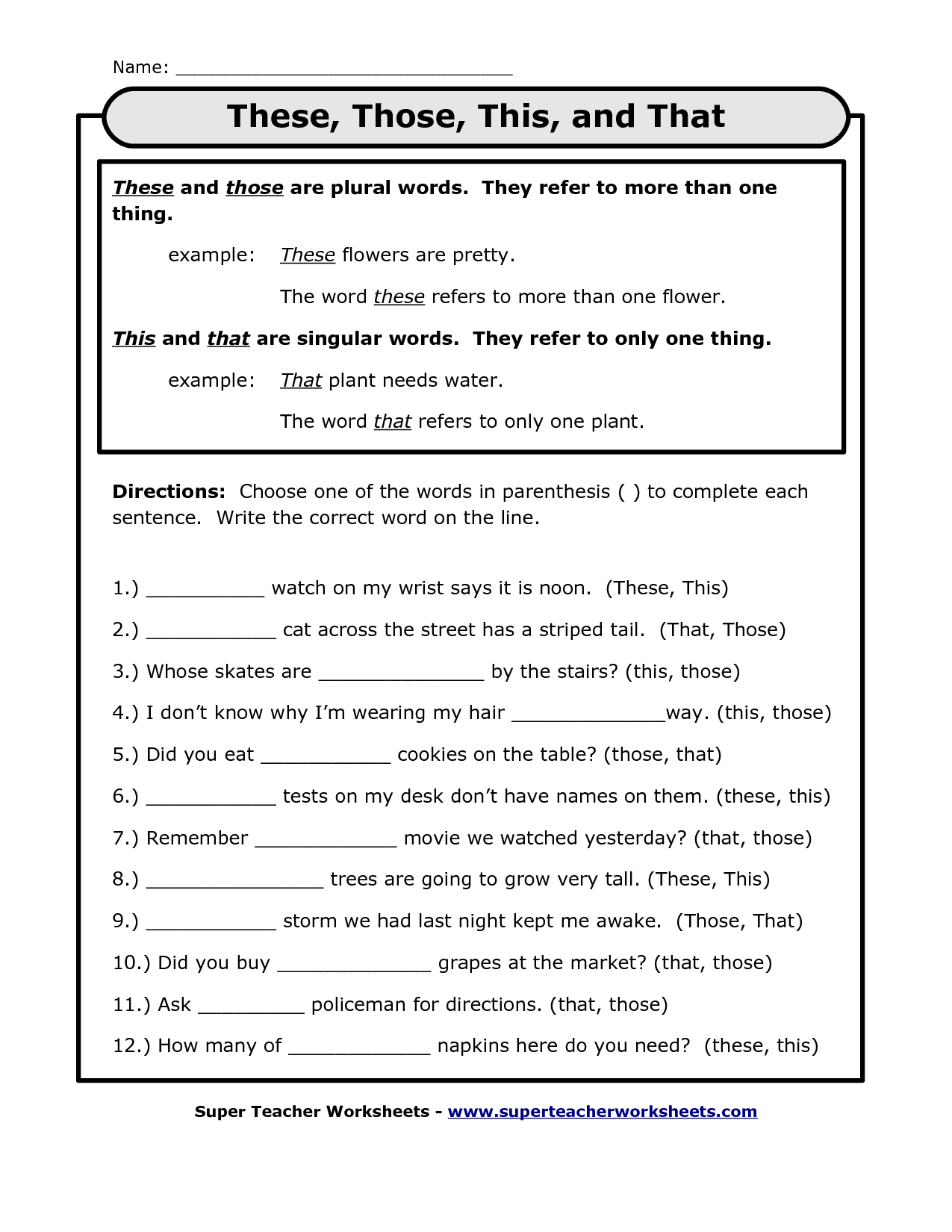 Pronoun Printouts This That These Those These Those This And