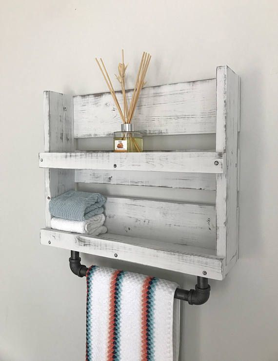 Bathroom shelf towel bar White distressed wood shelf with pipe towel ...