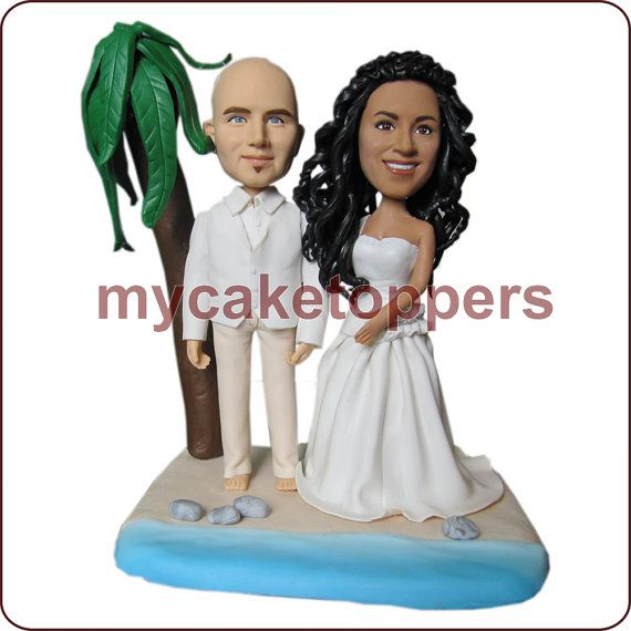 Sculpted Wedding Cake Topper, Figurine, Personalized Wedding Cake Topper,  Unique Cake Topper, Customzied Cake Topper, Beach, Plam Tree