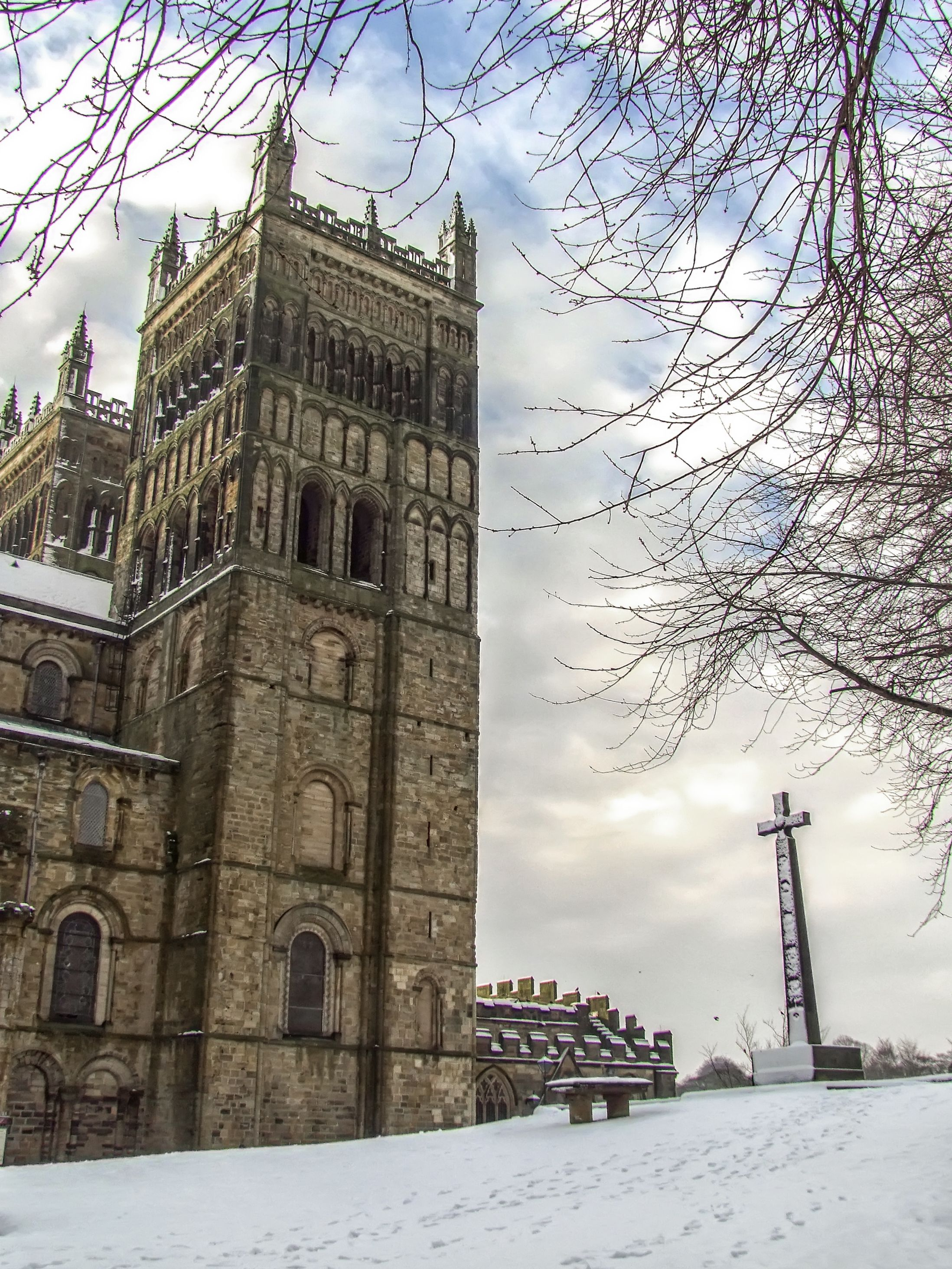 Durham Cathedral With St Cuthberts Cross In The Snow Cathedrals