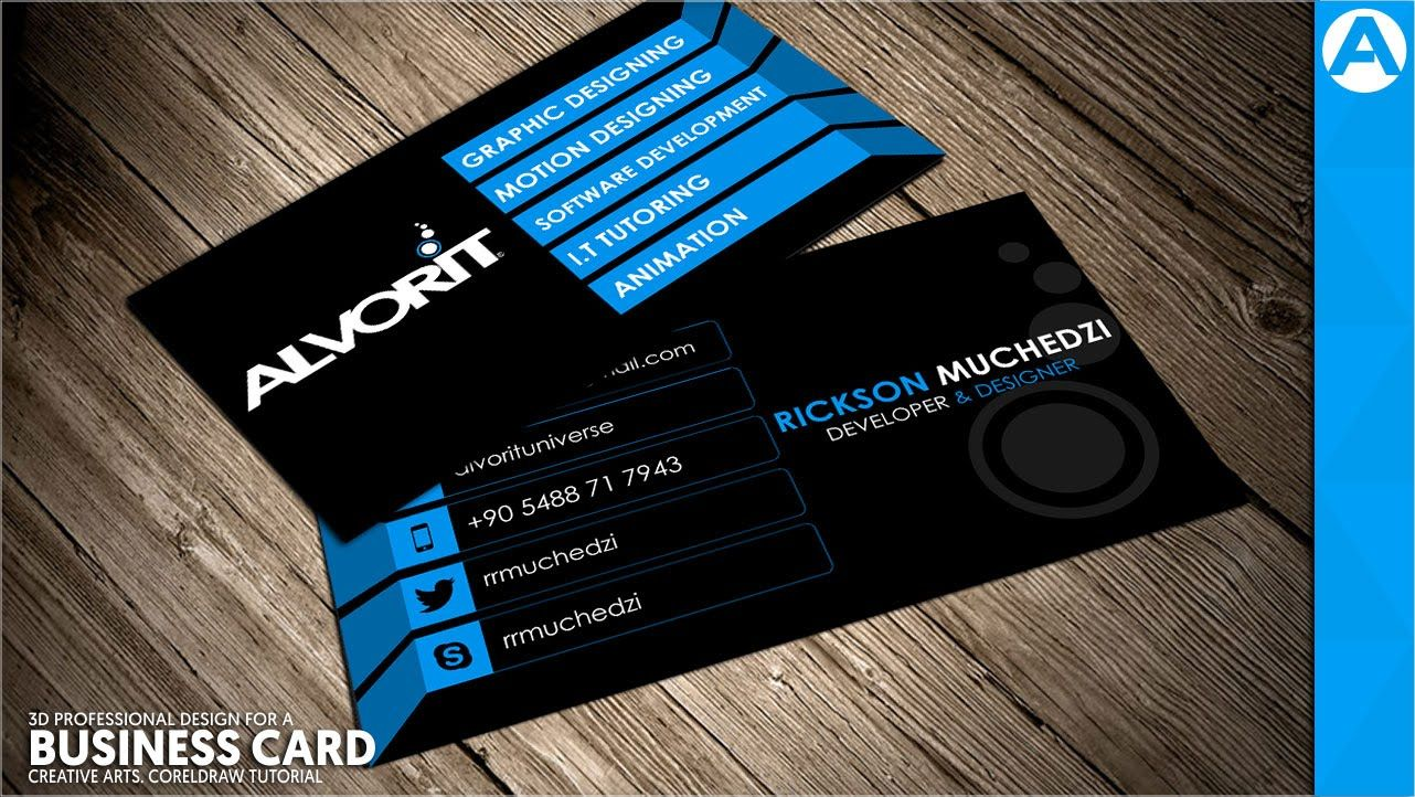 Professional Business Card Design Blue 3d Project In Coreldraw