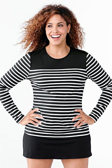 Women's Plus Size Swim Tee Rash Guard - Blocked Stripe from Lands' End