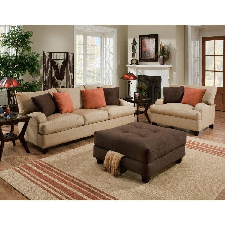 Vivacious Colorful Living Rooms Fun And Comfort: Franklin Mia Tan Sofa ...like These Decorative Pillow