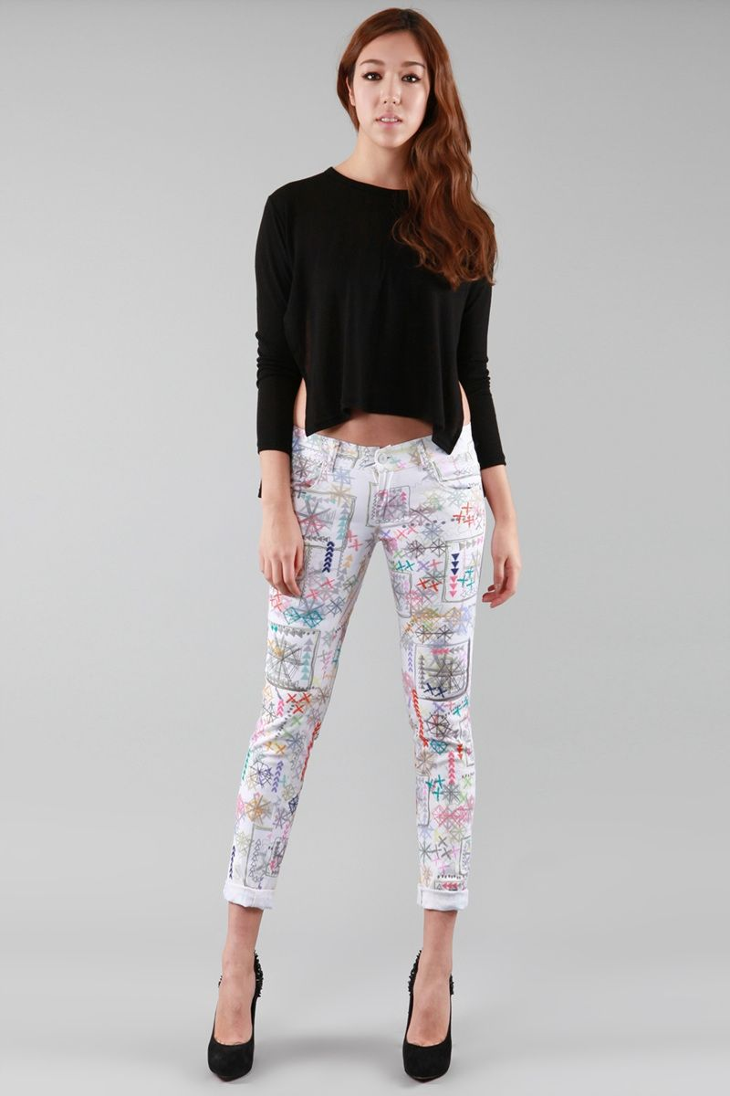 MINUSEY - Embroidered Skinny Jeans