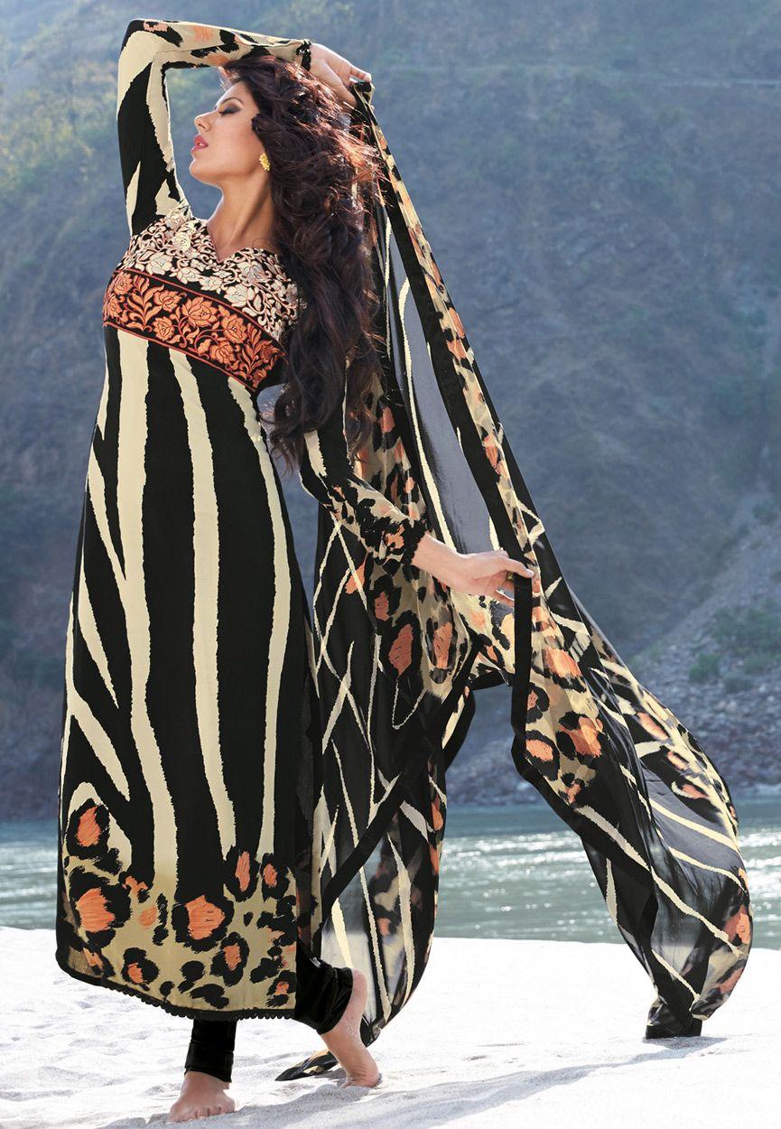 Black Faux Crepe Churidar Kameez Online Shopping: KWY657