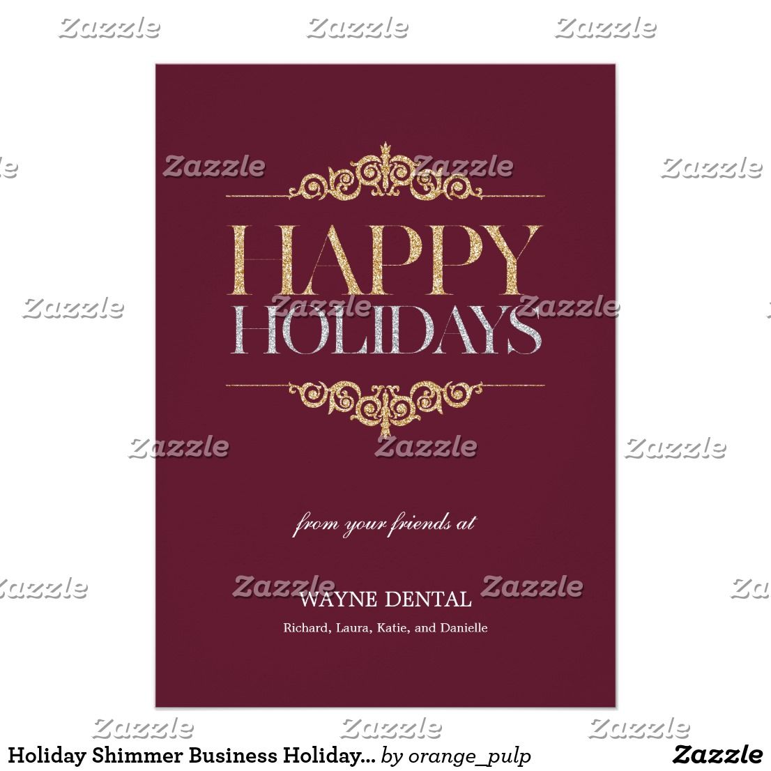 Holiday Shimmer Business Holiday Cards Maroon Business Holiday