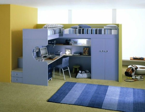Bunk Bed With Desk Underneath Kids Loft Study And Play Area