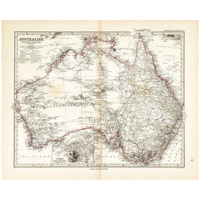 SIGLO XIX REFERENCIA: 862-5 Grabado, mapa de Australia, Gotha ...