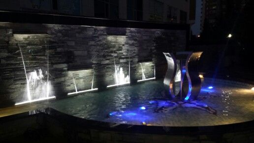 waterwall and lights