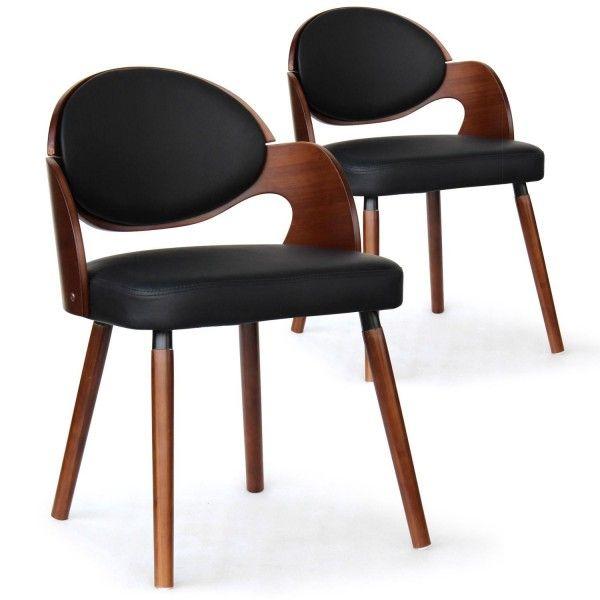 Chaise bois noisette et simili noir Sofa Lot de 2 SAM