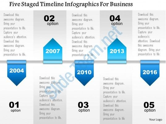 Five staged timeline infographics for business powerpoint template - business timeline template