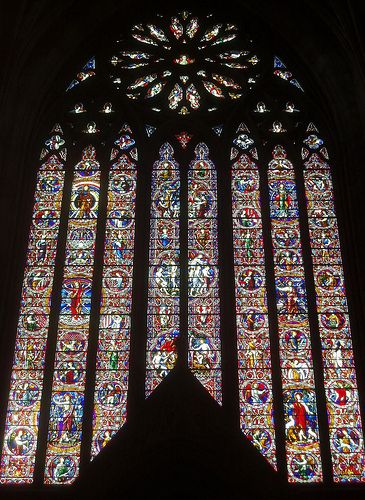 West Window, Worcester Cathedral - find the pink giraffe -one of 13 mistakes I was told