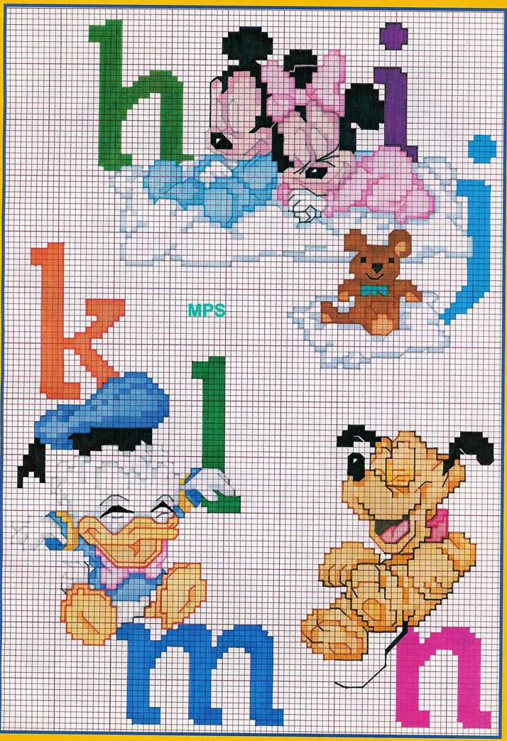 Alfabeto Punto Croce Con Disney Topolino E Minnie 1 Punto