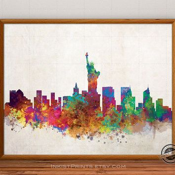 New York Skyline Watercolor, NYC Print, NY City Painting, Big Apple Poster, Illustration Art Paint, Giclee Wall, Cityscape, Fine, Home Decor