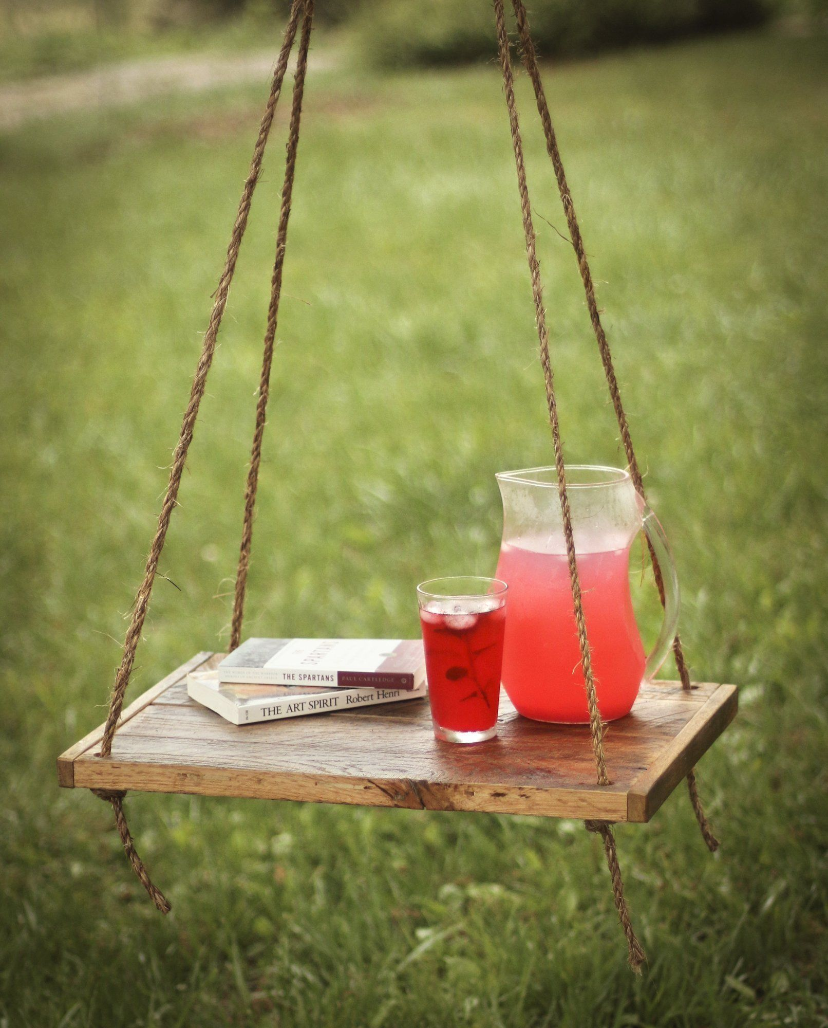 Outdoor hanging reclaimed wood hammock table this hanging side