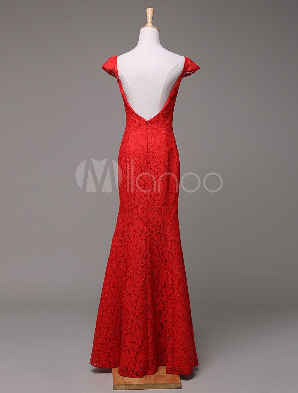 Long Prom Dress Lace Mermaid Bateau Neckline Floor-Length Evening