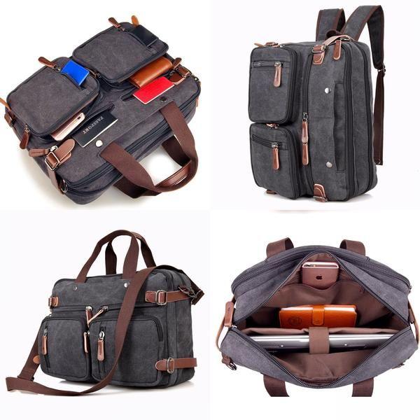 Clean Vintage Hybrid Backpack Messenger Bag | Convertible Laptop Messenger Backpack- Rucksack BookBag Daypack- WAXED Canvas- Black