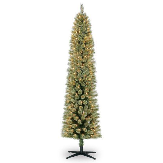 Ashland Christmas Trees.7ft Pre Lit Artificial Pencil Christmas Tree Clear Lights
