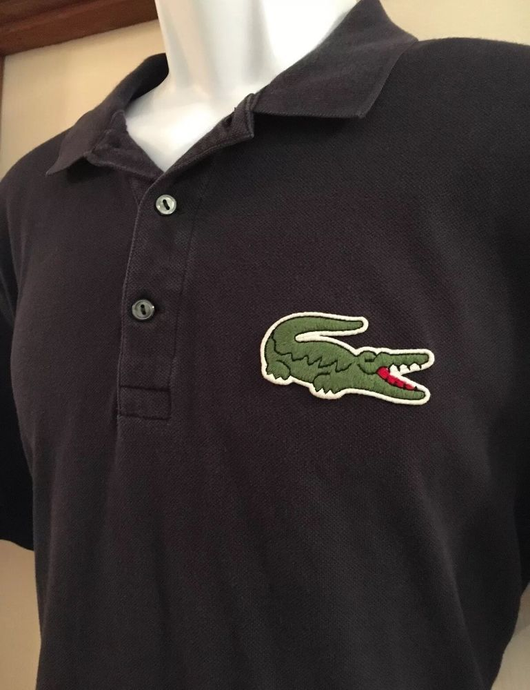 d2dd42205399 LACOSTE Polo Shirt Sz 6 L ROBERT GEORGE Navy VINTAGE Grunge Big Logo Men  RARE  Lacoste  PoloRugby
