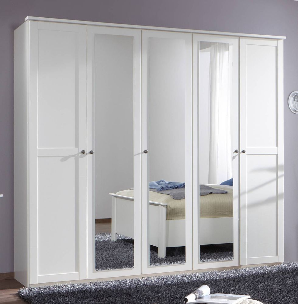 German Chalet Shaker Style White Large 5 Door Mirror ...