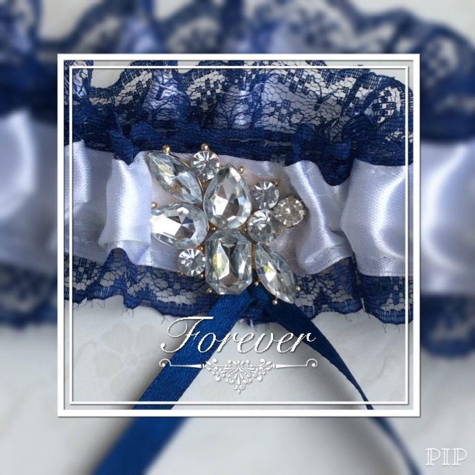 Blue Wedding Garter Uk: Large Plus Size XL Wedding Garter Something Blue Gem