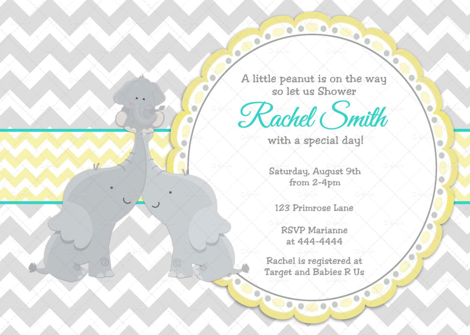 Yellow Turquoise Elephant Baby Shower Invitation - FREE Thank You ...