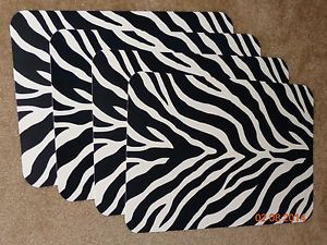 Set Of 4 Zebra Print Place Mats Black White Placemats Protect Wood Table Cloth Ebay