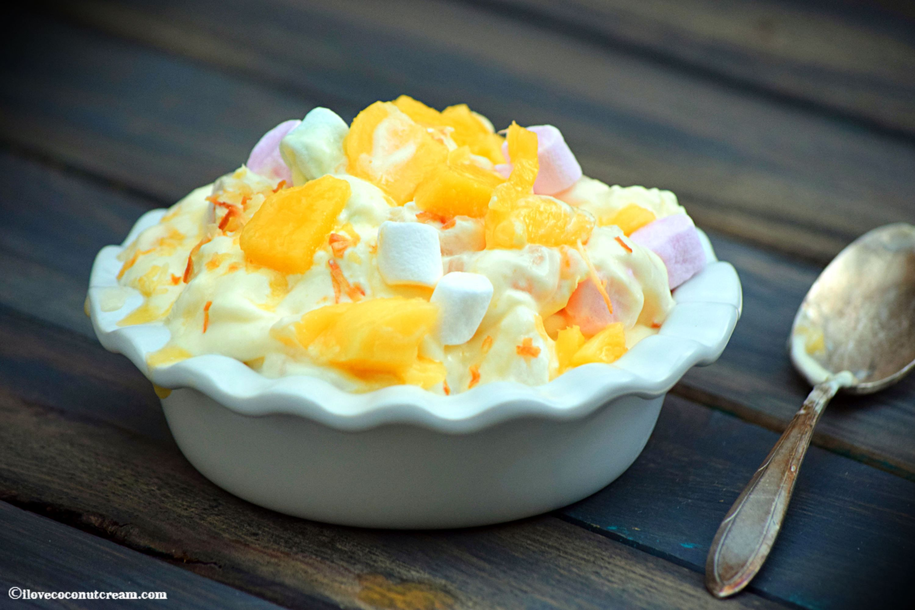 A Delicious Lychee Amp Mango Fruit Salad With Coconut Marshmallows And Creamy Yoghurt Ambrosia Salad Fruit Salad Recipes Mango Fruit