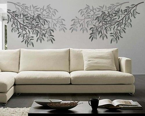 olive branch large wall stencil, reusable easy interior design