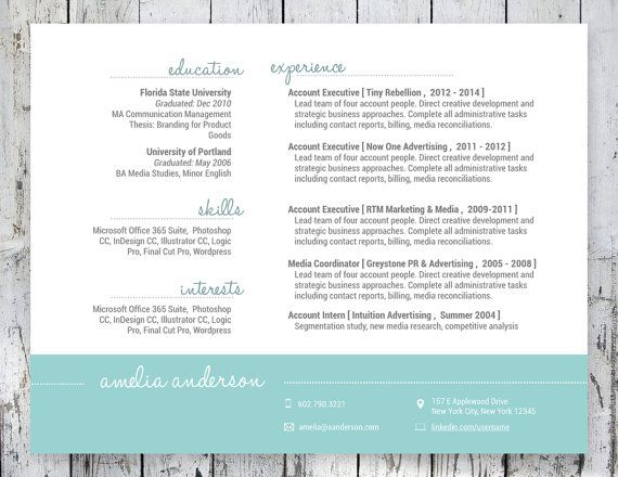 So Cute  Teal Resume Design Landscape Format  The Graphics