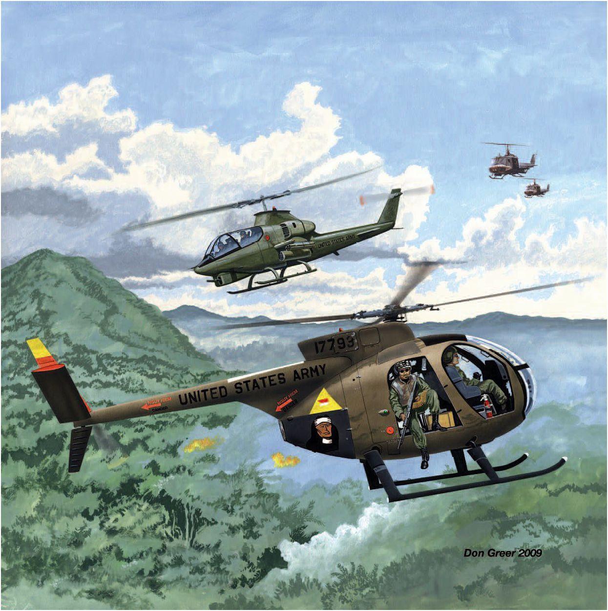 Helicoptéros OH-6 Cayuse y AH-1 Cobra en acción en Vietnam ...