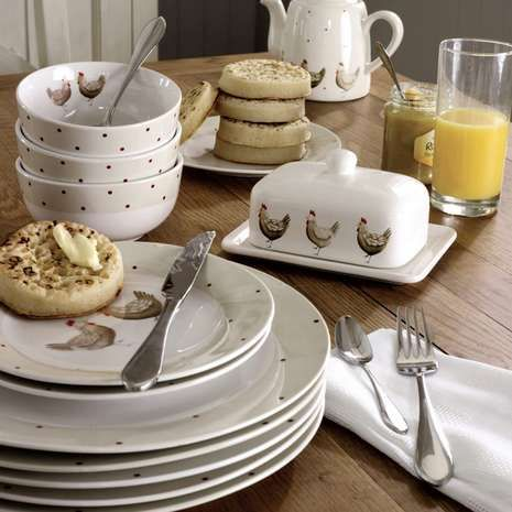 Designed with a farmhouse style hen and polka dot finish this quality porcelain twelve piece dinner set will add a rustic touch to your crockery collection