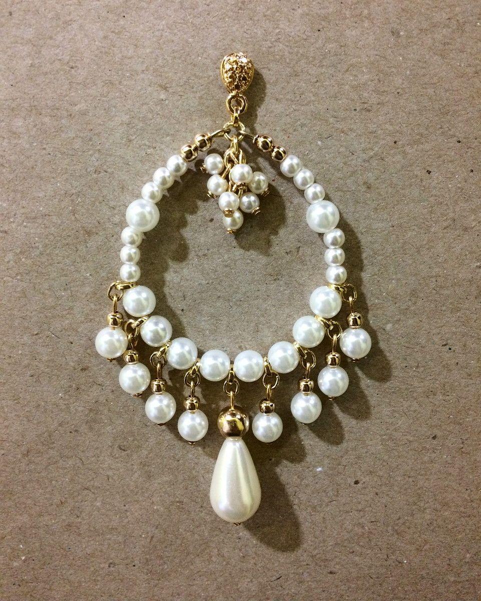 6a9fd6af3 Maxi brinco em pérolas | Aretes. | Earrings handmade, Beaded ...