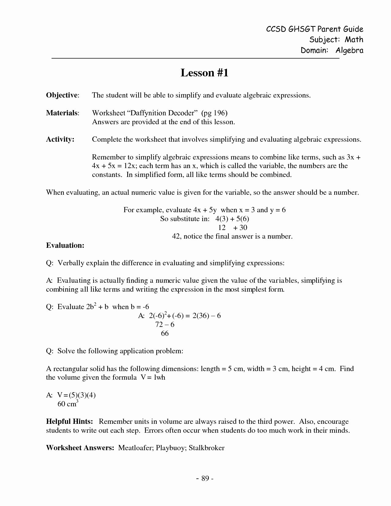 Evaluate The Expression Worksheet Fresh 16 Best Of