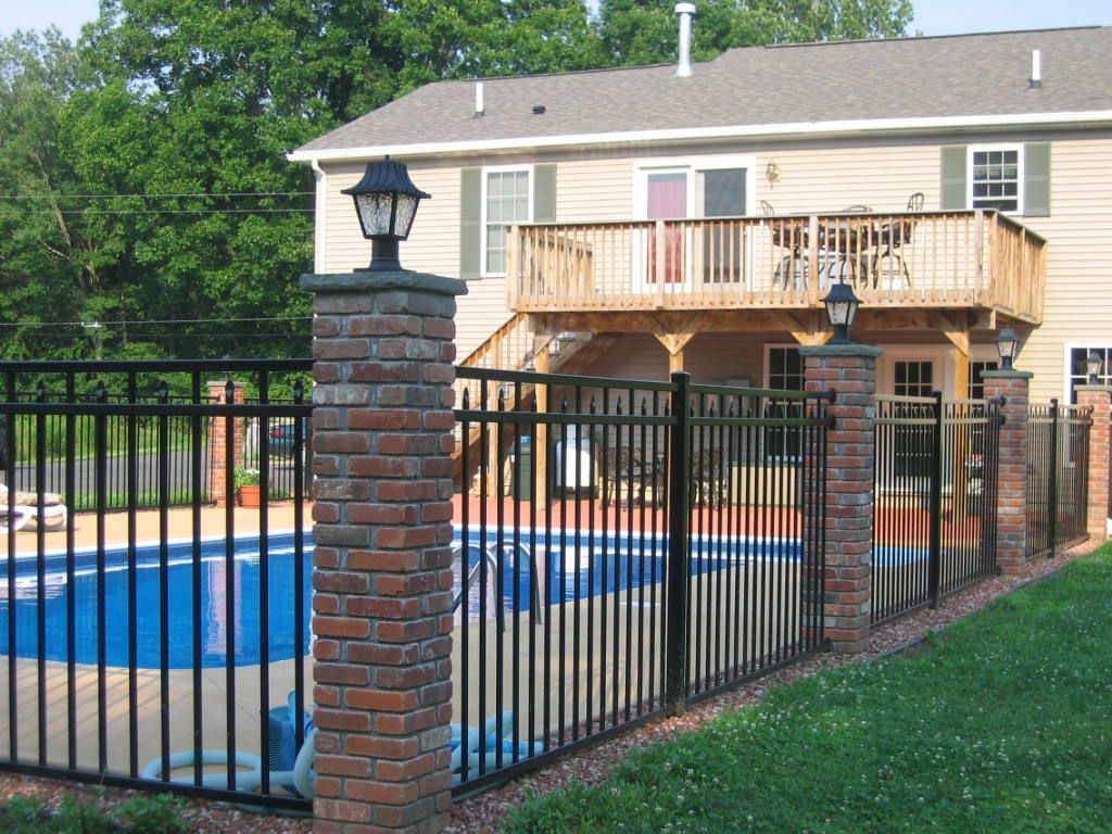 Google Image Result For Http Www Sentryfence Net Img 1201 Jpg Fence Around Pool Wrought Iron Pool Fence Brick Fence