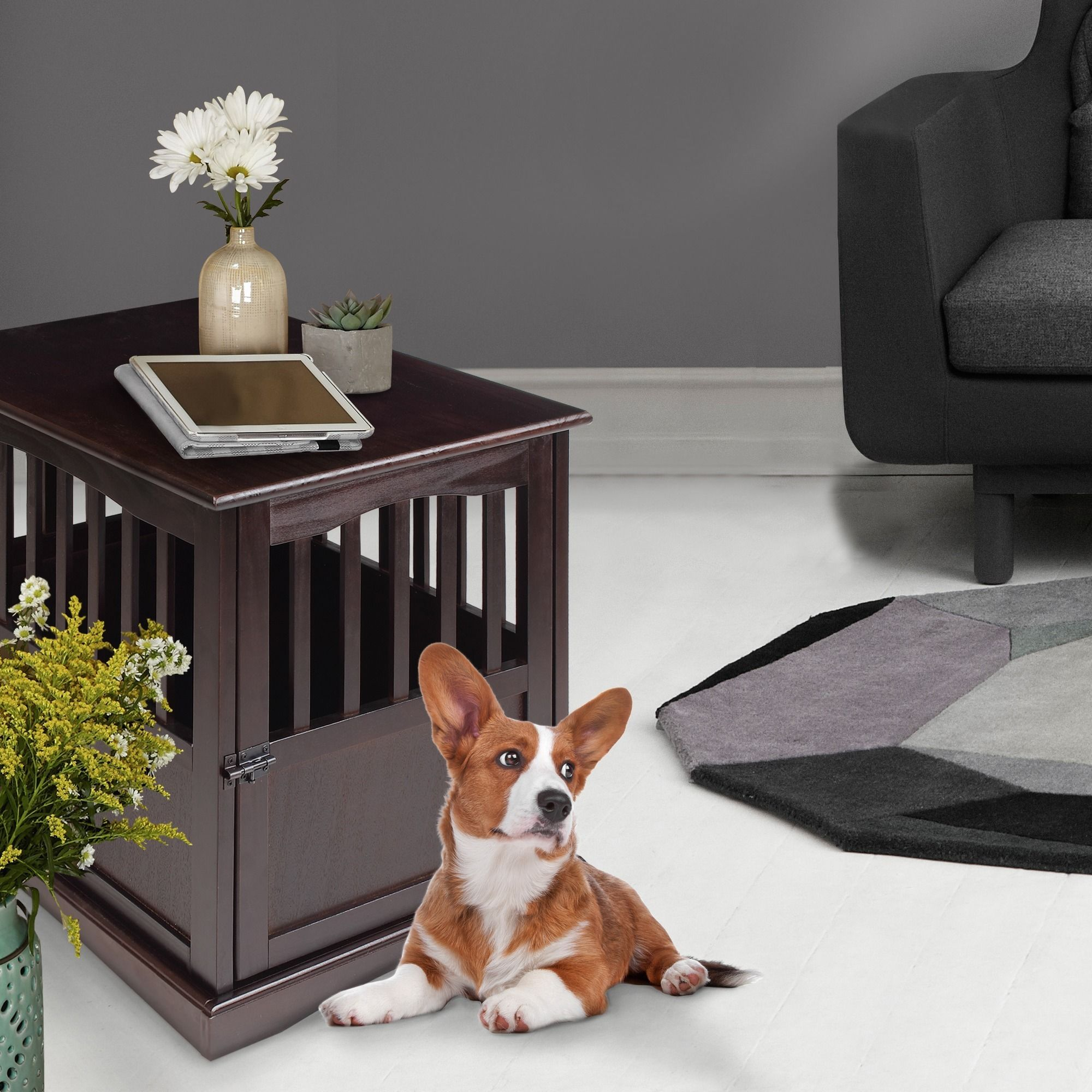This Attractive Pet Crate, From Wooden Furniture, Features A Traditional  Design With Sturdy Construction To Make Your Pet Feel At Home.