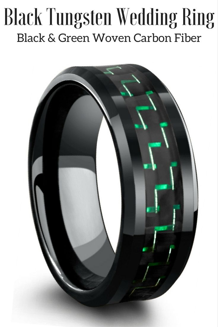 green mens wedding bands 8mm Black Tungsten Wedding Band With Green Black Carbon Fiber Inlay